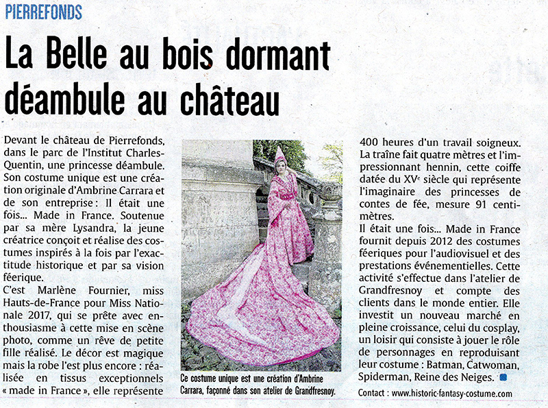 article presse il était une fois made in france belle au bois dormant courrier picard princesse