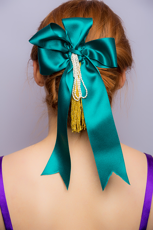 noeud pour les cheveux femme baroque vert emeraude satin franges or perles made in france