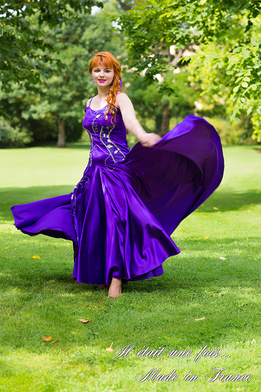 robe de soirée made in france satin violet strass