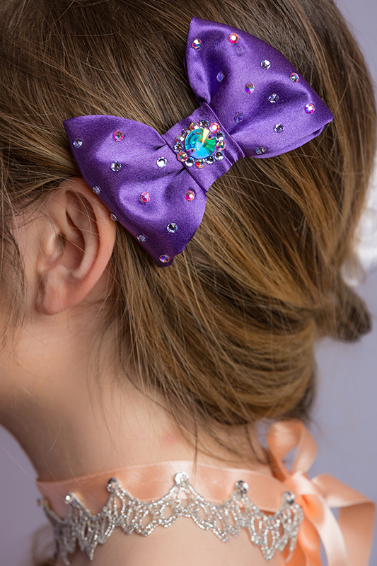 noeud pour les cheveux satin violet femme strass coiffure chignon tresse moderne baroque made in france collier choker princesse